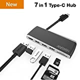 USB C Hub Anewish 7 in 1 USB C Adapter with 4K HDMI 3 USB 3.0 TF SD Slot Type C Charging Port for Mackbook/Macbook Pro 2017/2016/2015 Huawei MateBook Google Chromebook Pixel Samsung and More