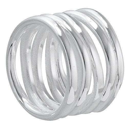 Vinani Ring gewickelte Bänder offen glänzend Sterling Silber 925 Größe 60 (19.1) RVB60 - Silber Breites Band-ringe