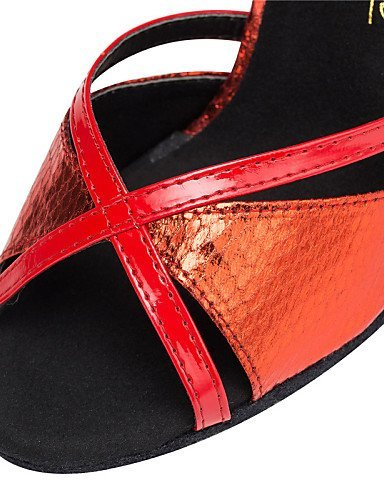 ShangYi Chaussures de danse ( Bleu / Rouge / Or ) - Personnalisables - Talon Personnalisé - Cuir / Similicuir - Latine / Salsa / Samba Gold
