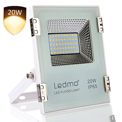 LEDMO 20w led strahler Warmweiß Fluter Floodlight Licht Scheinwerfer Außenstrahler Wandstrahler IP65 Wasserdicht AC 200 - 240V (Beleuchtung Landschaft Vision)