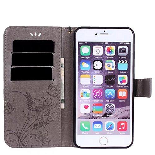 Hülle für iPhone 7 plus , Schutzhülle Für IPone 7 Plus, Horizontale Bookstyle Flip Case Premium PU Ledertasche, Solid Color Embossed Blumen Schutzhülle Tasche Tasche mit Lanyard & Stand ,hülle für iPh Gray