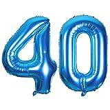 SMARCY Luftballon Nummer 40 zum 40. Geburtstag Folienballon Dekoration von 40 ans (Blau)
