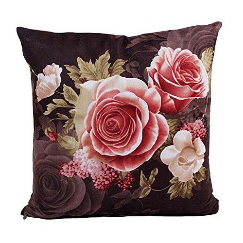 Kissenbezug Kissenhülle Ronamick Be Happy glücklich umgeben mit Blumen und Pflanzen personalisierte Sofa Kissenbezug Gedruckt Square (i)