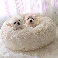 Lamzoom Cama para Mascotas Deluxe para Gatos y Perros Pequeños y medianos con Cojín Suave Redondo