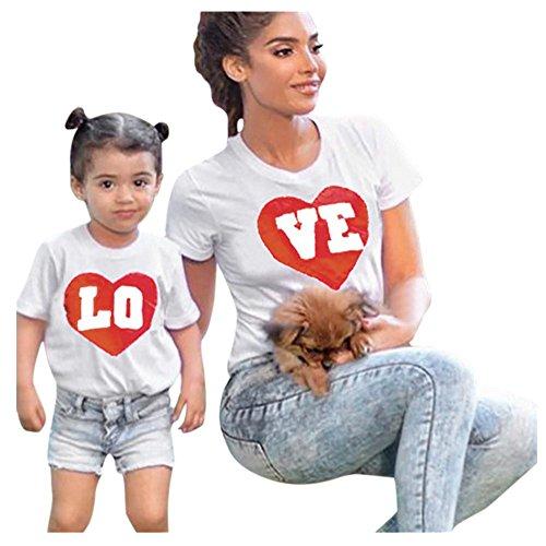 QinMM Camiseta de Manga Corta Para Mamá y Bebé, Tops Camisas de Mang