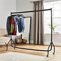 Direct Online Houseware 6ft Long x 5ft Tall Quality Heavy Duty Clothes Rail Black Hanging Garment Display