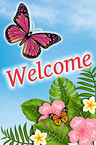 Kool Känguru Welcome Blume und Schmetterling Doppelseitig Garten Flagge, Haus Hof Flagge, Garten-Yard Dekorationen, Seasonal im Flagge 30,5x 45,7cm Geschenk für Spring Summer und Alle Jahreszeiten (Klassenzimmer Dekorationen Billig)