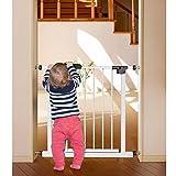 Tatkraft Gate Baby-Sicherheits-Tor Haltbarer Stahl Weiß für Türen und Treppen mit Farbanzeige 76-85 X 77 X 4,5 cm