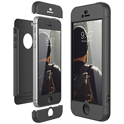 CE-Link Cover per Apple iPhone 5 5S Se 360 Gradi Full Body Protezione, Custodia iPhone 5S Silicone Rigida Snap On Struttura 3 in 1 Antishock e Antiurto, iPhone Se Case Antigraffio Molto Elegante - Nero
