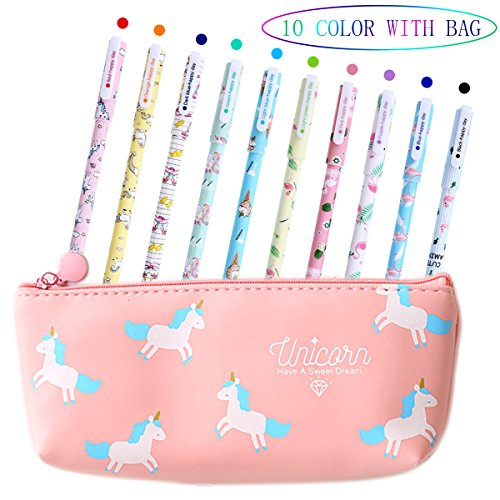 0f31048a5241 Unicorn Pens for Girls School Gift Birthday Present, VSTON Cute Unicorn  Pens Set Ballpoint Writing Smooth Black Ink Pencil Case for Kids Girls Age  3 4 ...
