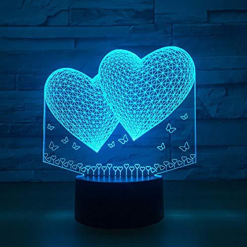 WEREWTR Doppeltes zwei Farben der Herz-3d Lampe-7 führten Nachtlampe für Freund-Note geführte Usb-Tabelle -