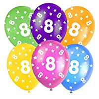"8th Birthday Assorted Multi-Coloured 12"" Latex Balloons - 5 In Each Pack - Balloons feature Stars and ""8"" text all over - Orange, Yellow, Green, Blue and Burgundy. (1 Pack)"