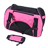 FOBUY Pet Cats Carrier Dogs Carrier Comfort Expandable Foldable Travel bag (Pale Pink)