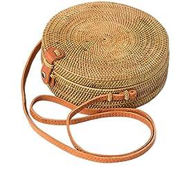 Busy Mom Rota redonda bolsa tejida con botones de cuero bolsos de lino y tejidos