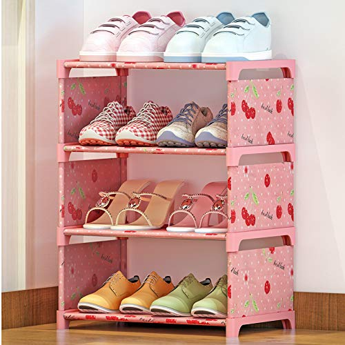 Qinqin666 Metal Storage Shelves Hold Up to(15 ) Pairs of Shoes, for Living Room, Entryway Pink 4th Floor