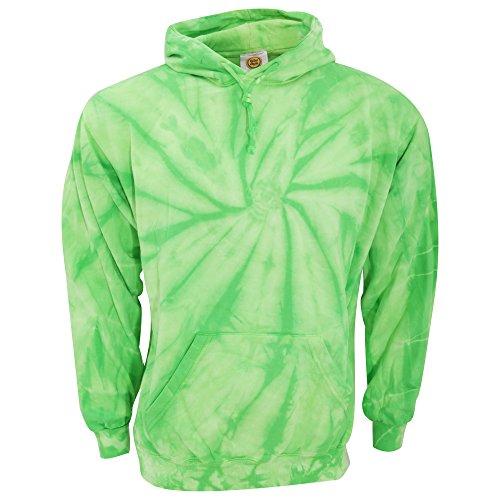 Tie-Dye Basic Unisex Kapuzen Pullover (2XL) (Spirale Limette) (Tie Neue Dye Baumwolle)