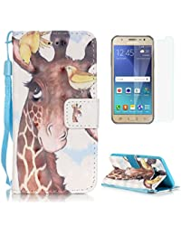 Samsung Galaxy J5 2016/J510FN Case [with Free Screen Protector],CaseHome Stylish 3D Pattern Folio Book Style Magnetic Closure Stand Feature Wallet Design with Card Holder Slots and Wrist Strap Built-in Soft Rubber Bumper Full Body Protective PU Leather Flip Case Cover Skin Shell for Samsung Galaxy J5 2016/J510FN-Giraffe and Birds