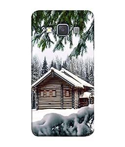 PrintVisa Designer Back Case Cover for Samsung Galaxy A7 (2015) :: Samsung Galaxy A7 Duos (2015) :: Samsung Galaxy A7 A700F A700Fd A700K/A700S/A700L A7000 A7009 A700H A700Yd (Greenary Cold Photography landscape Wood Hut )