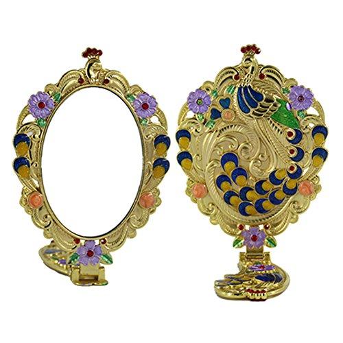 Argent Miroir miroir de maquillage Vintage pliant en métal miroir cosmétique A