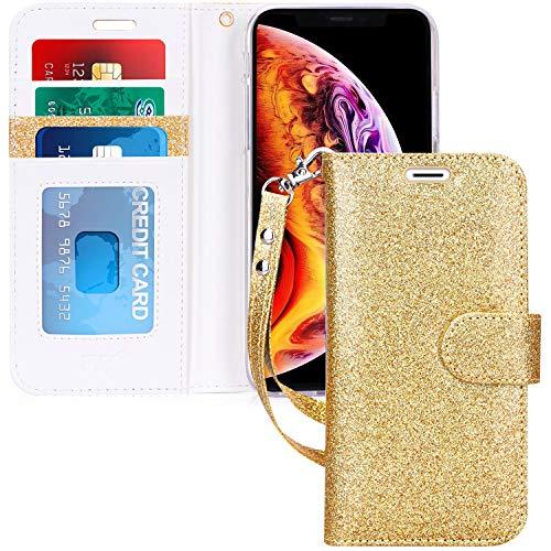 FYY Schutzhülle für iPhone XR (15,1 Zoll) 2018, mit Standfunktion, Leder, Brieftaschen-Hülle mit Ausweis- und Kreditkartentaschen für iPhone XR (15,1 Zoll) 2018, B-Bling-Yellow