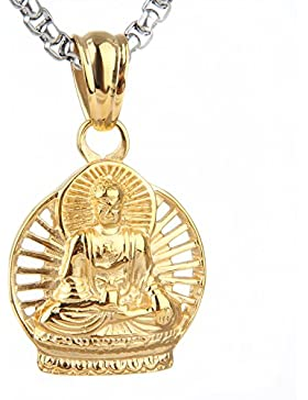 COPAUL Schmuck Edelstahl Religiöse Buddha Herren Anhänger Halskette Silber/Gold