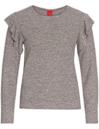 LIVRE Volant-Shirt in Strickoptik, Damen Strick-Optik Frauen Pulli Pullover Oberteil casual