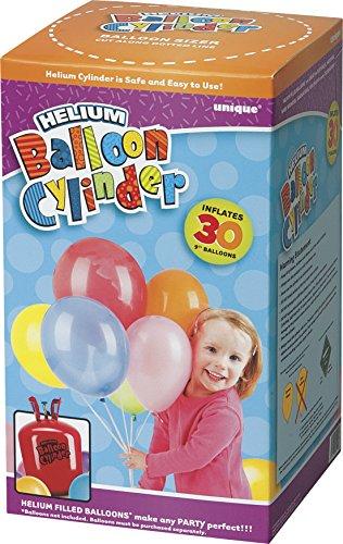 Bombona de helio pequeña y desechable para llenar globos de helio de 76 x 23 cm.