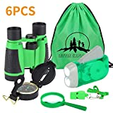 6Pcs Binoculars Set for Kids - Children Binocular, Hand Crank Flashlight, Compass, Magnifying Glass, Whistle, and Drawstring Backpack, Exploration Toy Kit for Camping and Hiking