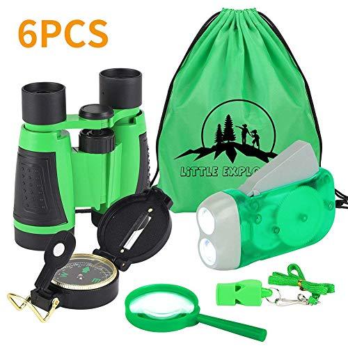 VGEBY 6pcs Fernglas Set für Kids–Kinder Fernglas, Handkurbel Taschenlampe, Kompass, Lupe,...