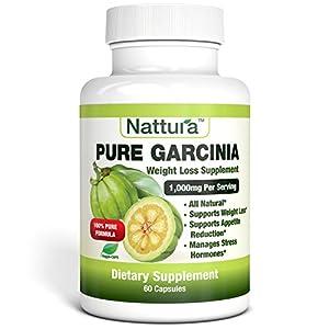 PURE GARCINIA – All Natural, 100% Pure Garcinia Cambogia Formula, 1000mg Garcinia Extract Per Serving – 60 Capsules by Nattura