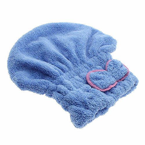 chickwin-lady-girls-long-hair-bowknot-drying-towel-cap-quick-dry-bathing-cap-microfiber-blue