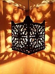 Orientalische Lampe Pendelleuchte Schwarz Randa E27 Lampenfassung | Marokkanische Design Hängeleuchte Leuchte aus Marokko | Orient Lampen für Wohnzimmer, Küche oder Hängend über den Esstisch