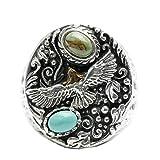 Aundiz 925 Silber Ring für Herren Adler Türkis Indisch 21.1 Gramm Gewicht Size 58 (18.5) Ringe