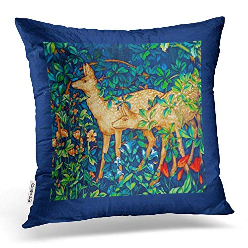 William Cotton Tapestry (RAINNY Throw Pillow Covers William Morris Forest Deer Tapestry Print Pillowcases Polyester Square with Hidden Zipper Home Sofa Cushion Decorative Pillowcase 18x18 inch)