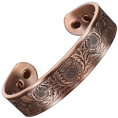 """Magnet-Armband für Herren, Magnet-Armband für Arthritis, Magnettherapie, für Schmerzen, keltische Größe M – XL, in Geschenkbox – schottische Distel XL: Wrist 20.5-24cm/8-9.5"""" kupfer"""