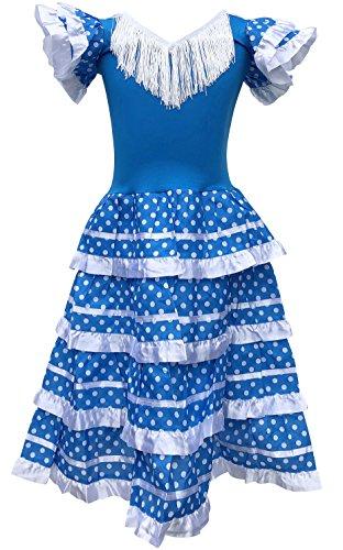 La Senorita Vestido Flamenco Español Traje de Flamenca chica/niños azul blanco (Talla 10, 128-134 - 85 cm, 7/8 años, azul)