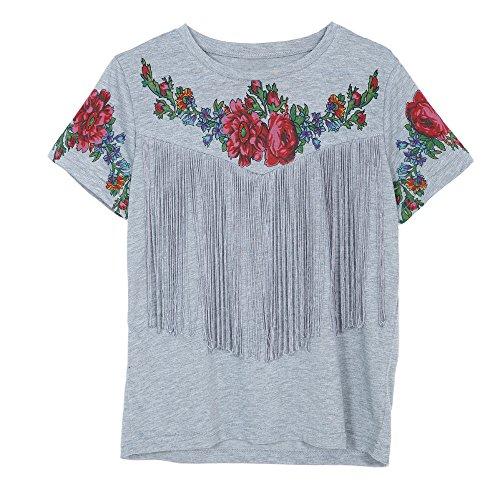Longra Donna T-shirt stampa di nappe Grigio