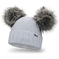 PaMaMi Damen Thermo Wintermütze | warme Strickmütze mit Zwei Bommeln | Gestrickte weiche Bommelmütze mit Fleece | Slouch Beanie Hergestellt in EU | Farbenauswahl M1