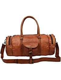 "Handcraft's ""Morgan"" Designer Tan Colored Genuine Leather Adjustable Shoulder Strap Duffel Bag Travel Bag"