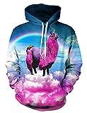 Goodstoworld Alpaka Hoodies Für Jungen 3D Kapuzenpullover Bunt Druck Pullover Sweatshirt Unisex Langarm Fleece Kapuzenjacke Top