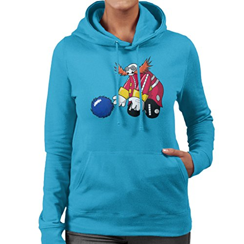 Sonic And Dr Eggman Baymax Mix Women's Hooded Sweatshirt Sapphire