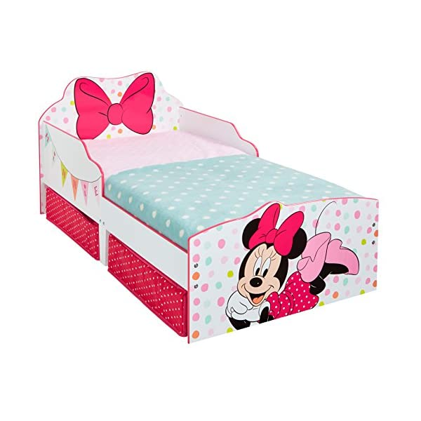 Hello Home Minnie Mouse Toddler Bed with Underbed Storage, Wood, White, 142 x 77 x 63 cm  Perfect for transitioning your little one from cot to first big bed The perfect size for toddlers, low to the ground with protective side guards to keep your little one safe and snug Two handy underbed, fabric storage drawers 1