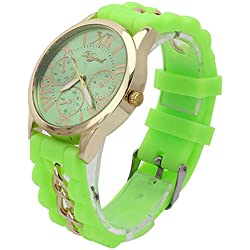 Girls Lady Silicone Band Wrist Watch Roman Numerals Analog Display Wristwatch Green