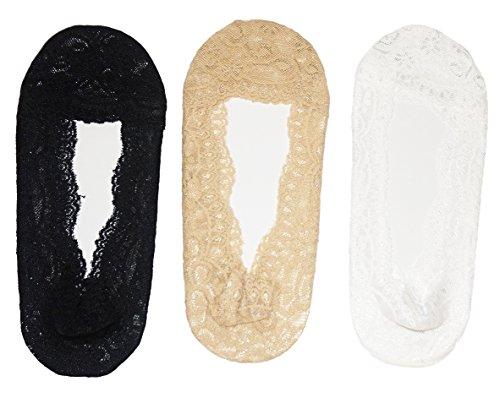 Damen echter Anti-Rutsch mode Füßlinge Schuh-Liner 3 Paar mischen ohne Innensohlepolster