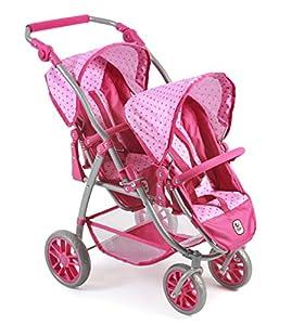 Bayer Chic 200068931-Tandem de Buggy Vario, Zwilling Carro para muñecas de hasta 50cm Aprox., Dots Rosa