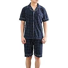 Aibrou Pijamas Hombre Verano Corto Algodón Casual Moderno,Suave,Cómodo ...