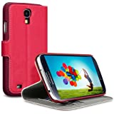 Samsung Galaxy S4 i9500 Low Profile Covert Branded PU Leather Wallet Case / Cover / Pouch / Holster - Red