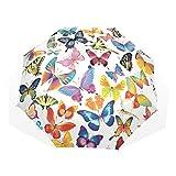 EZIOLY Reise-Regenschirm mit Schmetterlingen, leicht, UV-Schutz, Sonnenschirm, für Herren, Frauen und Kinder, Winddicht, faltbar, kompakt