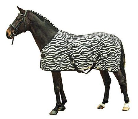 HKM Fliegendecke -Zebra- mit Kreuzgurt, weiß/schwarz, 155