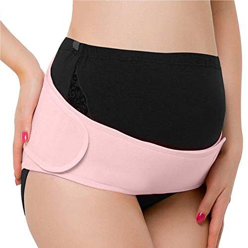 Tirain Maternity Belt Pregnancy Belly Band Breathable Abdominal Binder Adjustable Back Support Belt, Pelvic Support, Suitable for Prenatal and Postpartum Recovery (One size, Pink)